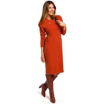 Textil Mulher Vestidos curtos Style S178 Vestido de camisola de manga comprida - gengibre