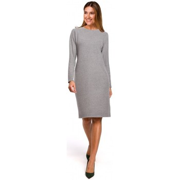 Textil Mulher Vestidos curtos Style S178 Vestido de camisola de manga comprida - cinzento