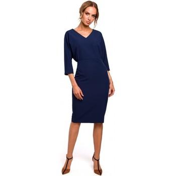 Textil Mulher Vestidos curtos Moe M464 Vestido de manga de batting - azul-marinho