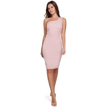 Textil Mulher Vestidos curtos Makover K003 Vestido de bainha com um decote de um ombro - rosa crepado