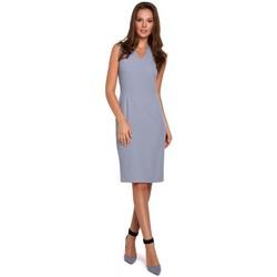 Textil Mulher Vestidos curtos Makover K004 Vestido a lápis com pescoço em V - lilás