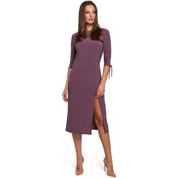 Textil Mulher Vestidos curtos Makover K007 Vestido de malha com mangas atadas - urze