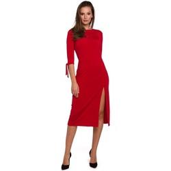 Textil Mulher Vestidos curtos Makover K007 Vestido de malha com mangas amarradas - vermelho