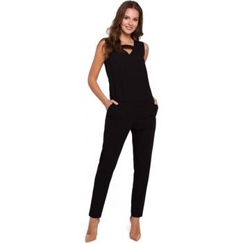 Textil Mulher Macacões/ Jardineiras Makover K009 Fato de salto de uma peça com pescoço em V - preto