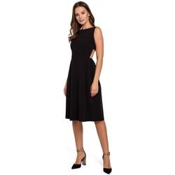 Textil Mulher Vestidos Makover K011 Vestido aberto de costas alargadas - preto