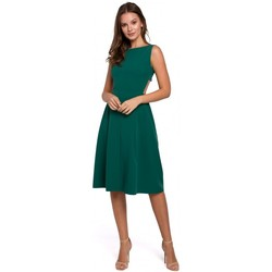 Textil Mulher Vestidos curtos Makover K011 Vestido aberto de costas em évasé - verde