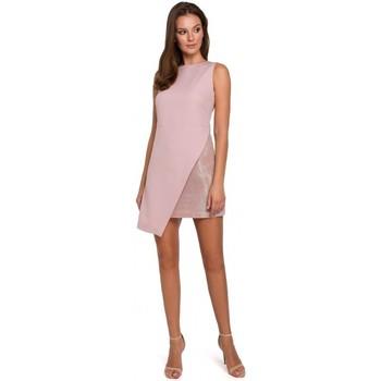 Textil Mulher Vestidos Makover K014 Mini vestido com bainha assimétrica - rosa crepe