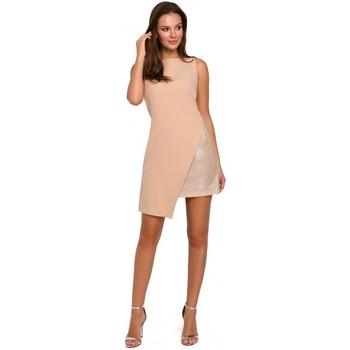 Textil Mulher Vestidos curtos Makover K014 Mini vestido com bainha assimétrica - bege
