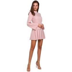Textil Mulher Vestidos curtos Makover K021 Mini vestido com bainha inferior plissada - rosa crepe