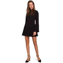 Textil Mulher Vestidos curtos Makover K021 Mini vestido com bainha de fundo plissada - preto