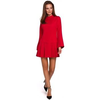 Textil Mulher Vestidos curtos Makover K021 Mini vestido com bainha inferior plissada - vermelho