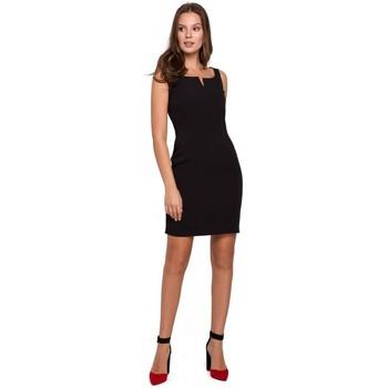 Textil Mulher Vestidos curtos Makover K022 Mini vestido com decote quadrado - preto