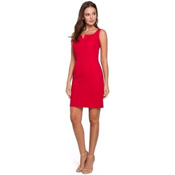Textil Mulher Vestidos curtos Makover K022 Mini vestido com decote quadrado - vermelho