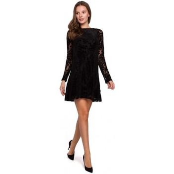Textil Mulher Vestidos Makover K023 Vestido de renda de floco - preto
