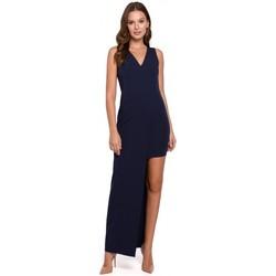Textil Mulher Vestidos compridos Makover K026 Vestido comprido assimétrico - azul-marinho