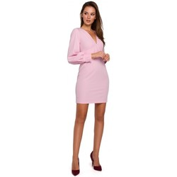 Textil Mulher Vestidos curtos Makover K027 Mini vestido de mangas Puff - lilás