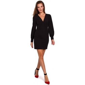 Textil Mulher Vestidos curtos Makover K027 Mini vestido de mangas Puff - preto