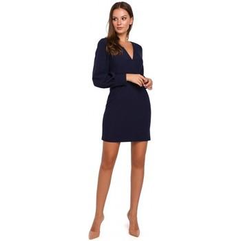Textil Mulher Vestidos curtos Makover K027 Mini vestido de mangas Puff - azul-marinho