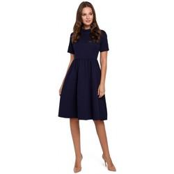Textil Mulher Vestidos curtos Makover K028 Colarinho enrolado e vestido flare - azul profundo