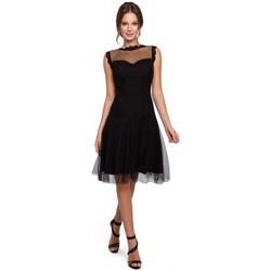 Textil Mulher Vestidos curtos Makover K030 Vestido Polka ponto tule - preto