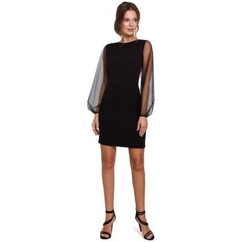 Textil Mulher Vestidos curtos Makover K032 Mini vestido de manga em tule - preto