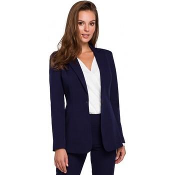 Textil Mulher Blazers Makover K036 Blazer de fundo simples - azul profundo