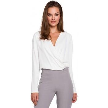Textil Mulher Tops / Blusas Makover K037 Envolver blusa frontal - ecru