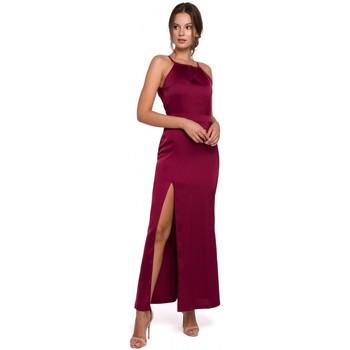 Textil Mulher Vestidos compridos Makover K042 Vestido Maxi com decote amarrado - azul-marinho