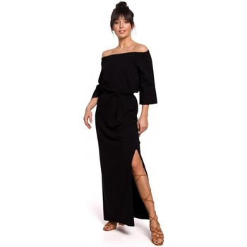 Textil Mulher Vestidos Be B146 Vestido de fora do ombro maxi - preto