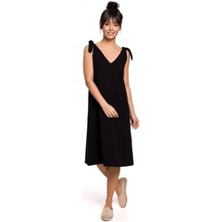 Textil Mulher Vestidos curtos Be B148 Vestido de trapézio de cordão - preto