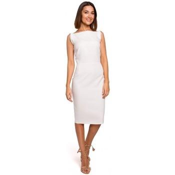 Textil Mulher Vestidos curtos Style S216 Vestido a lápis sem mangas - ecru