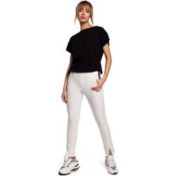 Textil Mulher T-Shirt mangas curtas Moe M493 Calças de perna bipartida -ecru