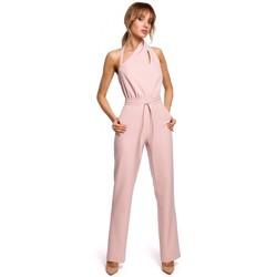 Textil Mulher Macacões/ Jardineiras Moe M502 Fato de salto elegante com decote assimétrico - pó