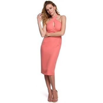 Textil Mulher Vestidos curtos Makover K043 Vestido de pescoço de gravata - laranja