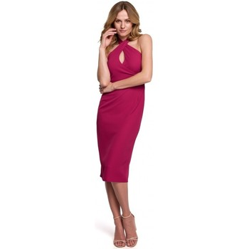 Textil Mulher Vestidos Makover K043 Vestido de pescoço de amarrar - ameixa