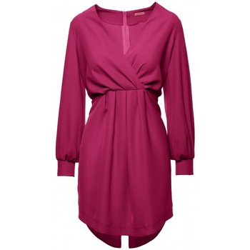 Textil Mulher Vestidos curtos Makover K044 Vestido de turno drapeado - ameixa
