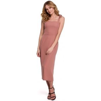 Textil Mulher Vestidos Makover K046 Vestido Midi com alças de gravata - rosa