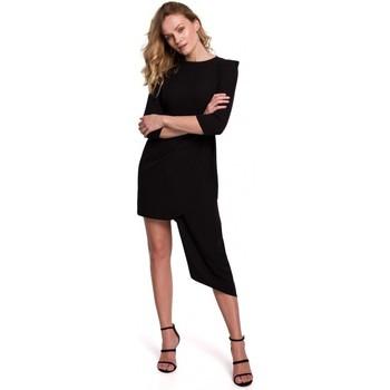 Textil Mulher Vestidos curtos Makover K047 Vestido de bainha assimétrica - preto