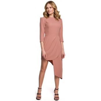 Textil Mulher Vestidos curtos Makover K047 Vestido de bainha assimétrica - rosa
