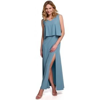 Textil Mulher Vestidos Makover K048 Vestido Maxi com folho - azul céu