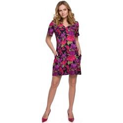 Textil Mulher Vestidos curtos Makover K052 Vestido por turnos com estampado - modelo 2