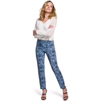 Textil Mulher Chinos Makover K053 Calças de perna fina com estampado - modelo 1