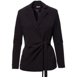 Textil Mulher Blazers Makover K056 Blazer com um cinto de gravata - preto