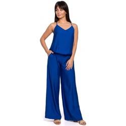Textil Mulher Macacões/ Jardineiras Be B155 Macacão de perna larga - azul real