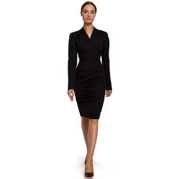 Textil Mulher Vestidos curtos Moe M547 Vestido extravagante com frente recolhida - preto