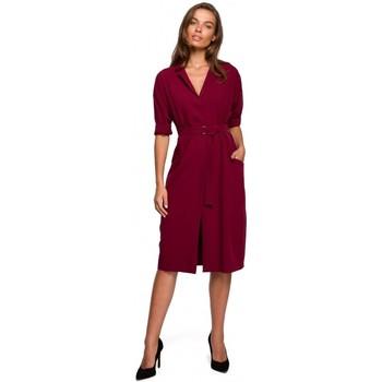 Textil Mulher Vestidos curtos Style S230 vestido de camisa Midi com bolsos de remendos - maroon