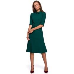 Textil Mulher Vestidos curtos Style S231 Colarinho de colarinho com cinto de fivela - verde