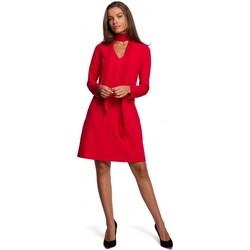 Textil Mulher Vestidos curtos Style S233 Vestido de turno com um lenço de chiffon - vermelho