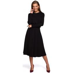 Textil Mulher Vestidos compridos Style S234 Vestido de ajuste e flare - preto
