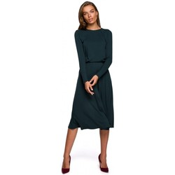 Textil Mulher Vestidos compridos Style S234 Vestido de ajuste e flare - verde-escuro